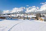 Austria, Tyrol, ski resort Going and Wilder Kaiser Mountains | Oesterreich, Tirol, Kaiserwinkl, Going vor dem Wilden Kaiser Gebirge