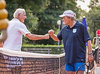Hilversum, The Netherlands,  August 20, 2021,  Tulip Tennis Center, NKS, National Senior Tennis Championships, Men's single 75+, Nico Jongsma (NED) (L) congratulates winner Etto van Waning (NED)<br /> Photo: Tennisimages/Henk Koster