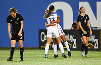 Cincinnati, OH - Tuesday September 19, 2017: Mallory Pugh, Alex Morgan celebrate during an International friendly match between the women's National teams of the United States (USA) and New Zealand (NZL) at Nippert Stadium.