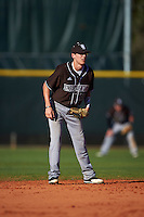 St. Bonaventure Bonnies shortstop Cole Peterson (19) during a game against the Dartmouth Big Green on February 25, 2017 at North Charlotte Regional Park in Port Charlotte, Florida.  St. Bonaventure defeated Dartmouth 8-7.  (Mike Janes/Four Seam Images)