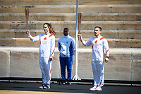 19th March 2020, Athens, Greece; The Olympic Flame, lit on Mount Olympia, is handed over officially to the  congregation from Japan, to be taken to Tokyo for the 2020 Olympic Games in July 2020. Swimmer Naoko Imoto  in Athens at the original stadium