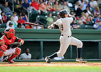 Infielder Dante Bichette Jr. (19) of the Charleston RiverDogs in a game against the Greenville Drive on Sunday, April 7, 2013, at Fluor Field at the West End in Greenville, South Carolina. Charleston won, 5-0. Bichette Jr. is the No. 21 prospect for the New York Yankees, according to Baseball America.(Tom Priddy/Four Seam Images)