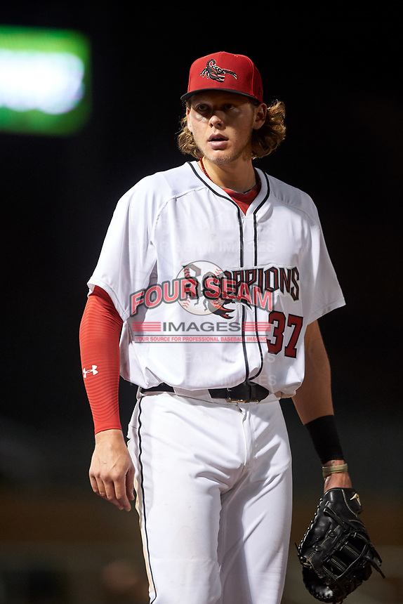 Scottsdale Scorpions first baseman Alec Bohm (37), of the Philadelphia Phillies organization, during an Arizona Fall League game against the Glendale Desert Dogs on September 20, 2019 at Salt River Fields at Talking Stick in Scottsdale, Arizona. Scottsdale defeated Glendale 3-2. (Zachary Lucy/Four Seam Images)
