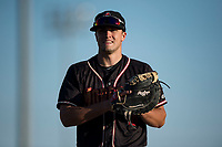 Modesto Nuts first baseman Evan White (18) during a California League game against the San Jose Giants at John Thurman Field on May 9, 2018 in Modesto, California. San Jose defeated Modesto 9-5. (Zachary Lucy/Four Seam Images)
