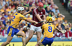 Jonathan Glynn of Galway in action against Patrick O Connor and Colm Galvin of Clare during their All-Ireland semi-final at Croke Park. Photograph by John Kelly.
