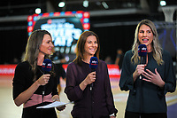 Skysport's Adine Wilson, Maree Bowden and Storm Purvis during the Cadbury Netball Series match between NZ Silver Ferns and NZ Men at the Fly Palmy Arena in Palmerston North, New Zealand on Thursday, 22 October 2020. Photo: Dave Lintott / lintottphoto.co.nz