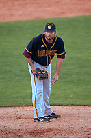 Bethune-Cookman Wildcats relief pitcher Charles Eytel (39) looks in for the sign during a game against the Wisconsin-Milwaukee Panthers on February 26, 2016 at Chain of Lakes Stadium in Winter Haven, Florida.  Wisconsin-Milwaukee defeated Bethune-Cookman 11-0.  (Mike Janes/Four Seam Images)