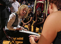Feb. 7, 2011; Charlottesville, VA, USA; Florida State Seminoles head coach Sue Semrau talks with her players during the first half of the game against the Virginia Cavaliers at the John Paul Jones Arena.  Mandatory Credit: Andrew Shurtleff-US PRESSWIRE