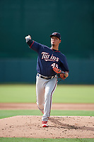 GCL Twins relief pitcher Junior Navas (45) delivers a pitch during the first game of a doubleheader against the GCL Orioles on August 1, 2018 at CenturyLink Sports Complex Fields in Fort Myers, Florida.  GCL Twins defeated GCL Orioles 7-6 in the completion of a suspended game originally started on July 31st, 2018.  (Mike Janes/Four Seam Images)