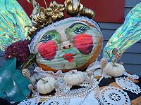 Queen bee pumpkin, Damariscotta pumpkin festival, Maine, USA