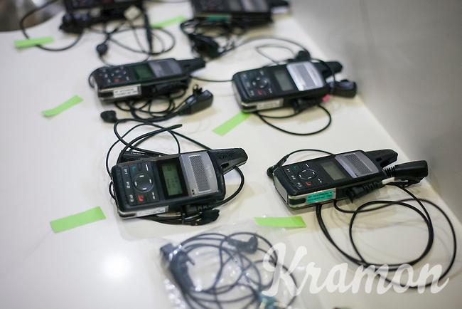 Veranda's Willems-Crelan race radios ready in the teambus<br /> <br /> 1st Dwars door West-Vlaanderen 2017 (1.1)