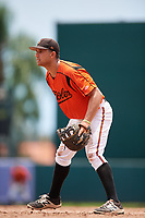 GCL Orioles first baseman J.C. Escarra (10) during a game against the GCL Rays on July 21, 2017 at Ed Smith Stadium in Sarasota, Florida.  GCL Orioles defeated the GCL Rays 9-0.  (Mike Janes/Four Seam Images)