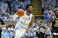 CHAPEL HILL, NC - MARCH 03: Leaky Black #1 of the University of North Carolina dribbles the ball during a game between Wake Forest and North Carolina at Dean E. Smith Center on March 03, 2020 in Chapel Hill, North Carolina.