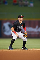 Birmingham Barons shortstop Danny Mendick (2) during a game against the Tennessee Smokies on August 16, 2018 at Regions FIeld in Birmingham, Alabama.  Tennessee defeated Birmingham 11-1.  (Mike Janes/Four Seam Images)