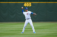 South Bend Cubs shortstop Rafael Narea (2) during a Midwest League game against the Cedar Rapids Kernels at Four Winds Field on May 8, 2019 in South Bend, Indiana. South Bend defeated Cedar Rapids 2-1. (Zachary Lucy/Four Seam Images)