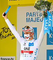 11th July 2021, Ceret, Pyrénées-Orientales, France; Tour de France cycling tour, stage 15, Ceret to  Andorre-La-Vieille;  POGACAR Tadej (SLO) of UAE TEAM EMIRATES pictured with the white jersey during the podium ceremony  during stage 15 of the 108th edition of the 2021 Tour de France cycling race, a stage of 191,3 kms between Ceret and Andorre-La-Vieille.