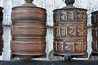 Kathmandu, Nepal.  Prayer Wheels at Swayambhunath Temple.