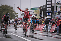 Mads Pedersen (DEN/Trek Segafredo) wins the sprint in a select group.  Jempey Drucker (LUX/BMC) finish 2nd place and Oliver Naesen (BEL/AG2R) finishes 3th. <br /> <br /> 78th Euro Metropole Tour 2018<br /> La Louvière – Tournai (BEL): 206km