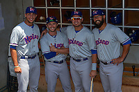 Midland RockHounds (L-R) Matt Olson, Matt Angle, Renato Nunez and Kris Hall in the dugout before a game against the Tulsa Drillers on June 3, 2015 at Oneok Field in Tulsa, Oklahoma.  Midland defeated Tulsa 5-3.  (Mike Janes/Four Seam Images)