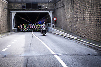 Peloton rolling out a tunnel<br /> <br />  Antwerp Port Epic 2019 <br /> One Day Race: Antwerp > Antwerp 187km<br /> <br /> ©kramon