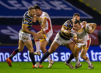 13th November 2020; The Halliwell Jones Stadium, Warrington, Cheshire, England; Betfred Rugby League Playoffs, Catalan Dragons versus Leeds Rhinos; James Maloney of Catalans Dragons is tackled