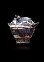 Vasiliki Ware spouted jar,  Vasiliki 2300-1900 BC BC, Heraklion Archaeological  Museum, black background.