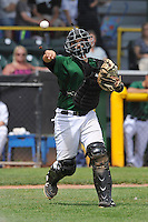 Clinton LumberKings James Alfonso (12) throws to first base during the Midwest League game against the Beloit Snappers at Ashford University Field on June 12, 2016 in Clinton, Iowa.  The LumberKings won 1-0.  (Dennis Hubbard/Four Seam Images)