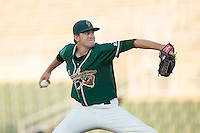 Greensboro Grasshoppers relief pitcher Ben Meyer (23) in action against the Kannapolis Intimidators at Intimidators Stadium on July 17, 2016 in Greensboro, North Carolina.  The Grasshoppers defeated the Intimidators 5-4 in game two of a double-header.  (Brian Westerholt/Four Seam Images)