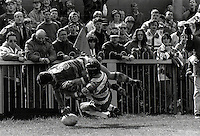 Pix:Michael Steele/SWpix...Try at Wilderspool. Rugby League. From the book 'When Push Comes to Shove'....COPYRIGHT PICTURE>>SIMON WILKINSON..Try at Wilderspool.