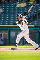Jett Bandy (27) of the Salt Lake Bees at bat against the Albuquerque Isotopes in Pacific Coast League action at Smith's Ballpark on June 8, 2015 in Salt Lake City, Utah.  The Bees defeated the Isotopes 10-7 in game one of a double-header.(Stephen Smith/Four Seam Images)