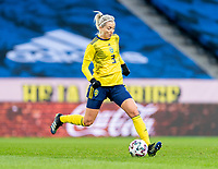 SOLNA, SWEDEN - APRIL 10: Linda Sembrant #3 of Sweden passes the ball during a game between Sweden and USWNT at Friends Arena on April 10, 2021 in Solna, Sweden.