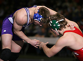 Cody Hutcheson (V) and Tyler Beckwith (IV) square off in the NY State Division Two finals at the 171 weight class during the NY State Wrestling Championship finals at Blue Cross Arena on March 9, 2009 in Rochester, New York.  (Copyright Mike Janes Photography)