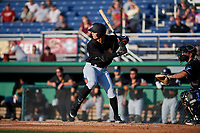 West Virginia Black Bears Blake Sabol (24) at bat during a NY-Penn League game against the Batavia Muckdogs on June 25, 2019 at Dwyer Stadium in Batavia, New York.  Batavia defeated West Virginia 7-3.  (Mike Janes/Four Seam Images)