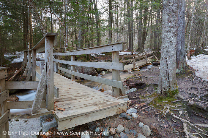 """""""The Basin"""" area in Franconia Notch State Park in Lincoln, New Hampshire during the spring of 2014. Flooding caused damage to the viewing area."""