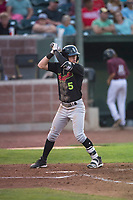 Great Falls Voyagers center fielder Romy Gonzalez (5) at bat during a Pioneer League game against the Idaho Falls Chukars at Melaleuca Field on August 18, 2018 in Idaho Falls, Idaho. The Idaho Falls Chukars defeated the Great Falls Voyagers by a score of 6-5. (Zachary Lucy/Four Seam Images)