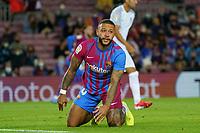 20th September 2021; Nou Camp, Barcelona, Spain; La Liga football league;  FC Barcelona versus Granada;   Menphys Depay on the pitch after a heavy tackle