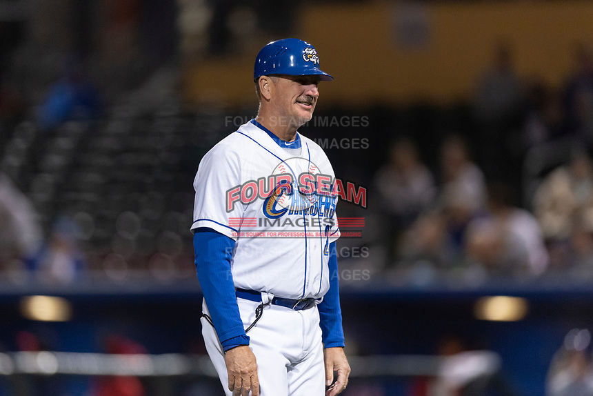 Omaha Storm Chasers manager Brian Poldberg (27) during a Pacific Coast League game against the Memphis Redbirds on April 26, 2019 at Werner Park in Omaha, Nebraska. Memphis defeated Omaha 7-3. (Zachary Lucy/Four Seam Images)