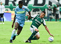 PALMIRA - COLOMBIA, 27-10-2018: Christian Rivera (Der) del Deportivo Cali disputa el balón con Danilson (Izq) de Jaguares de Córdoba durante partido por la fecha 17 de la Liga Águila II 2017 jugado en el estadio Palmaseca de Cali. / Christian Rivera (R) player of Deportivo Cali fights for the ball with Danilson (L) player of Jaguares de Cordoba during match for the date 17 of the Aguila League II 2017 played at Palmaseca stadium in Cali.  Photo: VizzorImage/ Nelson Rios / Cont