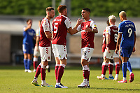 5th September 2020; PTS Academy Stadium, Northampton, East Midlands, England; English Football League Cup, Carabao Cup, Northampton Town versus Cardiff City; Luka Racic of Northampton Town celebrates their win with Cian Bolger