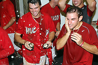 September 15 2008:  Chris Swauger, Colt Sedbrook of the Batavia Muckdogs, Class-A affiliate of the St. Louis Cardinals, celebrate winning the NY-Penn League championship after a game at Dwyer Stadium in Batavia, NY.  Photo by:  Mike Janes/Four Seam Images