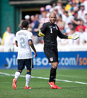 Tim Howard (1) of the USMNT yells to a referee during the game at RFK Stadium in Washington DC.  The USMNT defeated Germany, 4-3, in a friendly match.