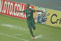 PEREIRA - COLOMBIA, 12–02-2021: Arley Bonilla de Patriotas Boyaca F.C. celebra despues de anotar gol de su equipo, durante partido de la fecha 6 entre Deportivo Pereira y Patriotas Boyaca F.C. por la Liga BetPlay DIMAYOR I 2021, jugado en el estadio Hernan Ramirez Villegas de la ciudad de Pereira. / Arley Bonilla of Patriotas Boyaca F.C., celebrates after scoring goal of his team, during match of 6th date between Deportivo Pereira and Patriotas Boyaca F.C. for the BetPlay DIMAYOR I 2021 League played at the Hernan Ramirez Villegas in Pereira city. / Photo: VizzorImage / Pablo Bohorquez / Cont.