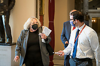 United States Representative Zoe Lofgren (Democrat of California) talks with reporters at the U.S. Capitol in Washington, DC, Tuesday, January 12, 2021. Credit: Rod Lamkey / CNP /MediaPunch