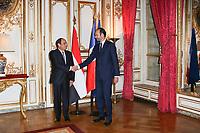 ABDEL FATTAH AL-SISSI, EDOUARD PHILIPPE - LE PREMIER MINISTRE EDOUARD PHILIPPE RECOIT LE PRESIDENT EGYPTIEN ABDEL FATTAH AL-SISSI A L'HOTEL DE MATIGNON, PARIS, FRANCE, LE 24/10/2017.
