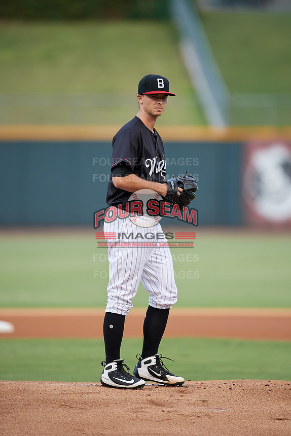 Birmingham Barons starting pitcher Ian Clarkin (28) gets ready to deliver a pitch during a game against the Tennessee Smokies on August 16, 2018 at Regions FIeld in Birmingham, Alabama.  Tennessee defeated Birmingham 11-1.  (Mike Janes/Four Seam Images)