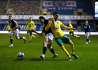 2nd February 2021; The Den, Bermondsey, London, England; English Championship Football, Millwall Football Club versus Norwich City; Dan McNamara of Millwall challenges Dimitris Giannoulis of Norwich City