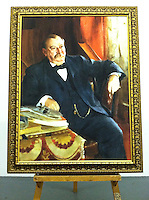 """Reproduction of Anders Zorn's (1860-1920)<br /> Stephen Grover Cleveland (1837-1908). <br /> Twenty-second and twenty-fourth President of the United States. 1899. Oil on canvas, 121.9 x 91.4 cm.   DIGITAL REPRODUCTION FRAMED SIZE:55 3/4"""" x 43 3/4"""" Stretcher Size without frame 48"""" x 36"""""""