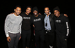 """Derrick Baskin, Jeremy Pope, Jawan M. Jackson, James Harkness and Ephraim Sykes during the Legacy Robe honoring E. Clayton Cornelious for """"Ain't Too Proud"""" at the Imperial Theatre on 3/20/2019 in New York City."""