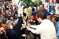 Montreal, June 5th 2001<br /> <br /> BAR team Formula One driver, JACQUES VILLENEUVE sign autographs for fans, June 5th 2001,  in front of his new restaurant - dance club ``Newtown `` on Crescent Street in downtown MONTREAL , Canada.