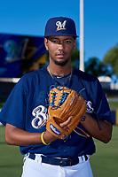 AZL Brewers Blue Pablo Garabitos (29) poses for a photo before an Arizona League game against the AZL Athletics Gold on July 2, 2019 at American Family Fields of Phoenix in Phoenix, Arizona. AZL Athletics Gold defeated the AZL Brewers Blue 11-8. (Zachary Lucy/Four Seam Images)